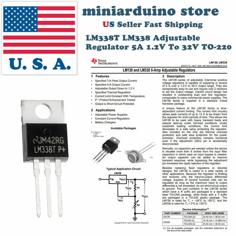 5pcs LM338T LM338 Adjustable Regulator 5A 1.2V To 32V TO-220 LM317 replacement - arduino - Business & Industrial:Electrical Equipment & Supplies:Electronic Components & Semiconductors:Semiconductors & Actives:Power Regulators & Converters