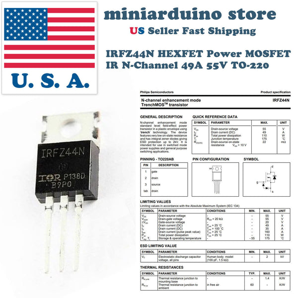 10pcs IRFZ44 IRFZ44N MOSFET Transistor N-Channel HEXFET Power 49A 55V Gate FET - arduino - Business & Industrial:Electrical Equipment & Supplies:Electronic Components & Semiconductors:Semiconductors & Actives:Transistors