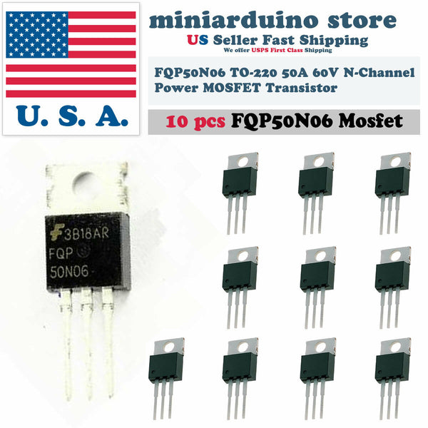 10pcs FQP50N06 Transistor Power MOSFET N Channel 60V 50A 50N06 Fairchild NEW USA - arduino - Business & Industrial:Electrical Equipment & Supplies:Electronic Components & Semiconductors:Semiconductors & Actives:Transistors
