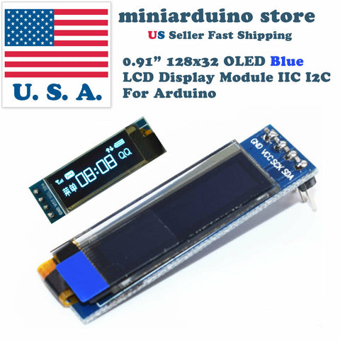 0.91 inch 128x32 IIC I2C Blue OLED Display Module DC3.3V 5V 128*32 Arduino - arduino - Business & Industrial:Electrical Equipment & Supplies:Electronic Components & Semiconductors:LEDs, LCDs & Display Modules:LCD Display Modules