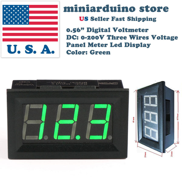 "0.56"" 3 wire DC 4-30V/0-200V GREEN LED digital voltmeter module panel meter - arduino - Business & Industrial:Test, Measurement & Inspection:Test Meters & Detectors:Other Test Meters & Detectors"