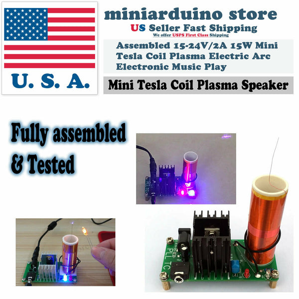 Mini Tesla Coil Plasma Arc Electronic Music Speaker 15-24V/2A 15W Assembled - arduino - Toys & Hobbies:Educational:Science & Nature:Electronics & Electricity