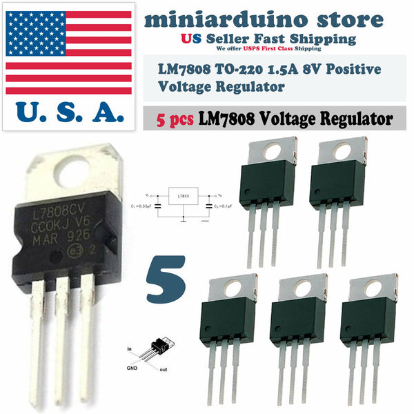 5pcs 7808 L7808 L7808CV LM7808 8V Voltage Regulator Positive TO-220 1.5A - arduino - Business & Industrial:Electrical Equipment & Supplies:Electronic Components & Semiconductors:Semiconductors & Actives:Integrated Circuits (ICs):Other Integrated Circuits