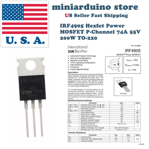 10pcs IRF4905 IRF4905PBF MOSFET FET P-Channel 55V 75A 200W Transistor - arduino - Business & Industrial:Electrical Equipment & Supplies:Electronic Components & Semiconductors:Semiconductors & Actives:Transistors