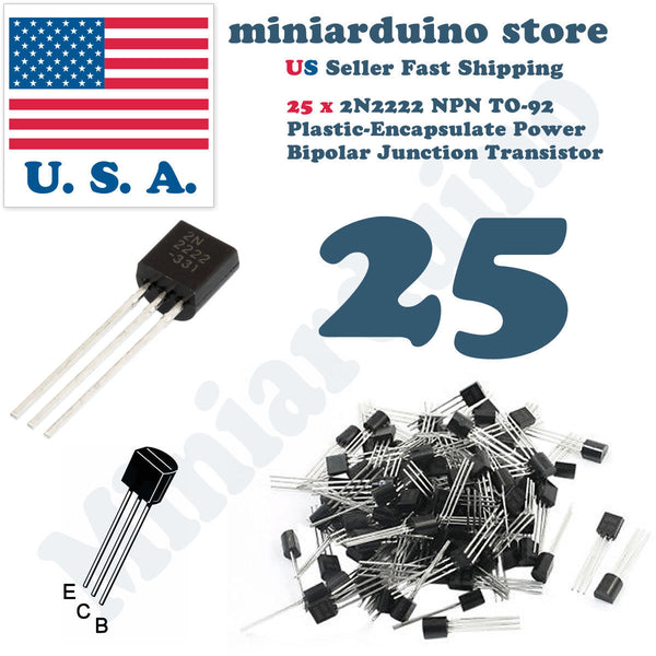 25pcs 2N2222A NPN 2N2222 TO-92 Plastic-Encapsulate Power Transistors 40V ECB - arduino - Business & Industrial:Electrical Equipment & Supplies:Electronic Components & Semiconductors:Semiconductors & Actives:Transistors