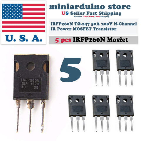 5pcs IRFP260N Power MOSFET IRFP260 N-Channel Transistor 50A 200V TO-247 - arduino - Business & Industrial:Electrical Equipment & Supplies:Electronic Components & Semiconductors:Semiconductors & Actives:Transistors