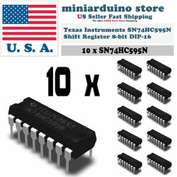 10 x SN74HC595N IC 74HC595 Texas Instruments 8-Bit Shift Registers DIP-16 - arduino - Business & Industrial:Electrical Equipment & Supplies:Electronic Components & Semiconductors:Semiconductors & Actives:Integrated Circuits (ICs):Other Integrated Circuits