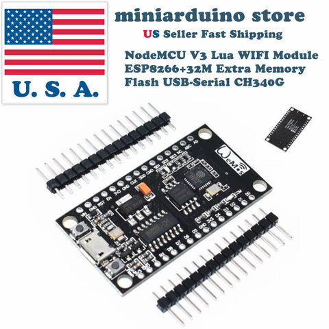 NodeMCU V3 Lua WIFI Module ESP8266+32M Extra Memory Flash USB-Serial CH340G - arduino - Business & Industrial:Electrical Equipment & Supplies:Electronic Components & Semiconductors:Semiconductors & Actives:Development Kits & Boards