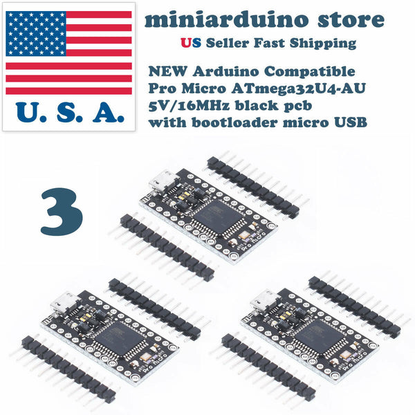 3PCS Arduino Micro Pro ATmega32U4-AU 5V/16MHz black with bootloader micro USB - arduino - Business & Industrial:Electrical Equipment & Supplies:Sensors:Other Sensors