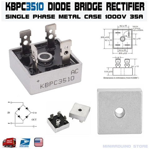 KBPC3510 Diode Bridge Rectifier Single Phase Metal Case 1000V 35A - arduino - Business & Industrial:Electrical Equipment & Supplies:Electronic Components & Semiconductors:Semiconductors & Actives:Diodes:Other Diodes