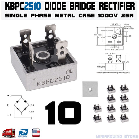 10pcs KBPC2510 Diode Bridge Rectifier Single Phase Metal Case 1000V 25A - arduino - Business & Industrial:Electrical Equipment & Supplies:Electronic Components & Semiconductors:Semiconductors & Actives:Diodes:Other Diodes
