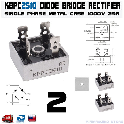 2pcs KBPC2510 Diode Bridge Rectifier Single Phase Metal Case 1000V 25A - arduino - Business & Industrial:Electrical Equipment & Supplies:Electronic Components & Semiconductors:Semiconductors & Actives:Diodes:Other Diodes