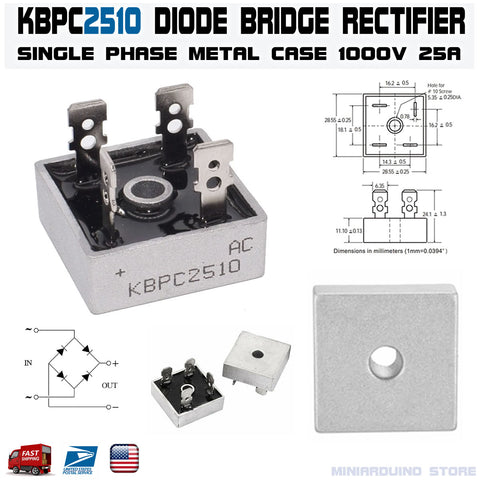 KBPC2510 Diode Bridge Rectifier Single Phase Metal Case 1000V 25A - arduino - Business & Industrial:Electrical Equipment & Supplies:Electronic Components & Semiconductors:Semiconductors & Actives:Diodes:Other Diodes