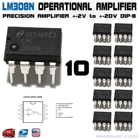 10pcs LM308N Operational Amplifier LM308 LM308AN DIP-8 - arduino -