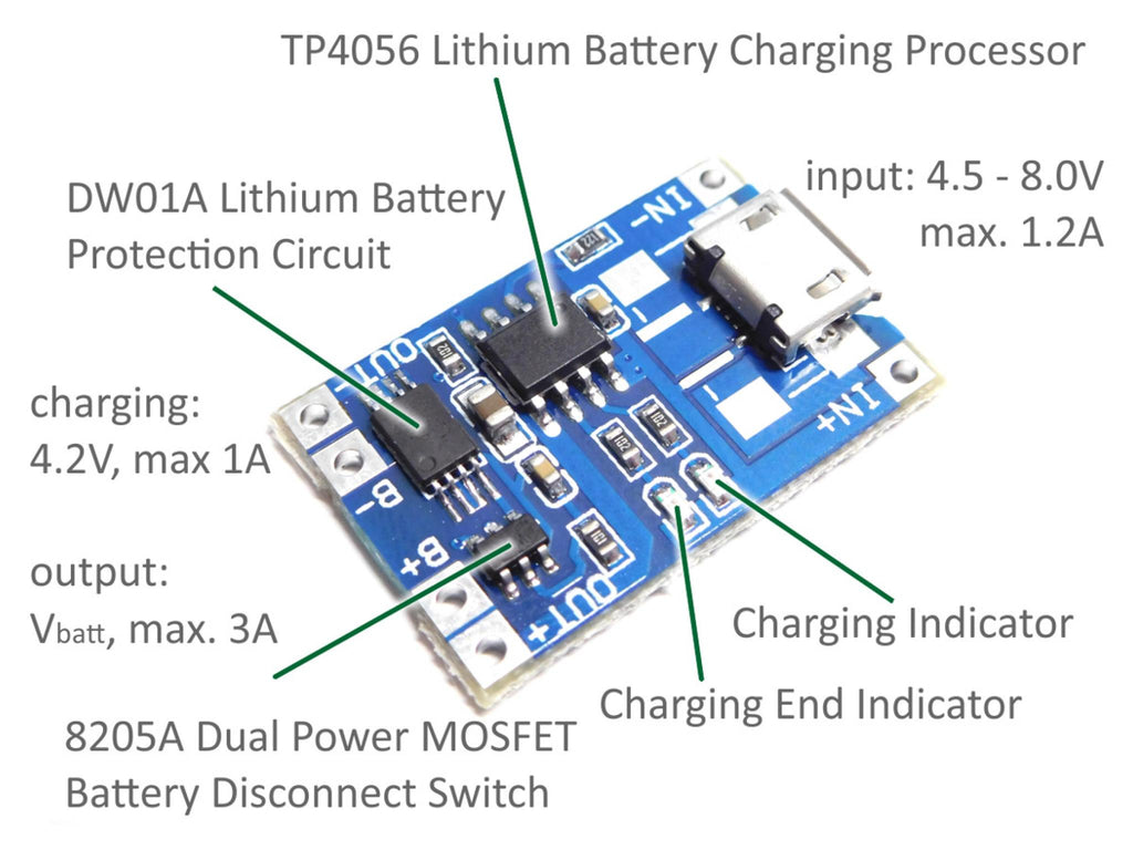 2pcs TP4056 Micro USB 5V 1A 18650 Lithium Battery Charging Dual Protection DW01A - arduino - Business & Industrial:Electrical Equipment & Supplies:Electronic Components & Semiconductors:Semiconductors & Actives:Power Regulators & Converters