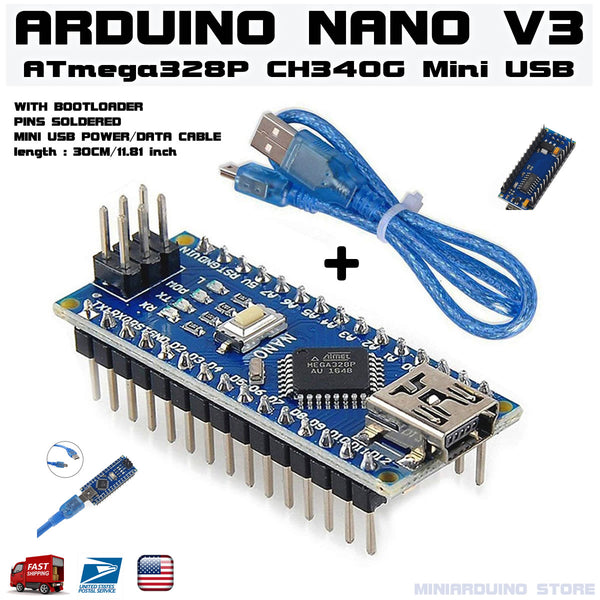 Arduino Nano V3.0 pins soldered ATmega328p 5V CH340G + 1 Mini USB Cable - arduino - Business & Industrial:Electrical Equipment & Supplies:Electronic Components & Semiconductors:Other Electronic Components