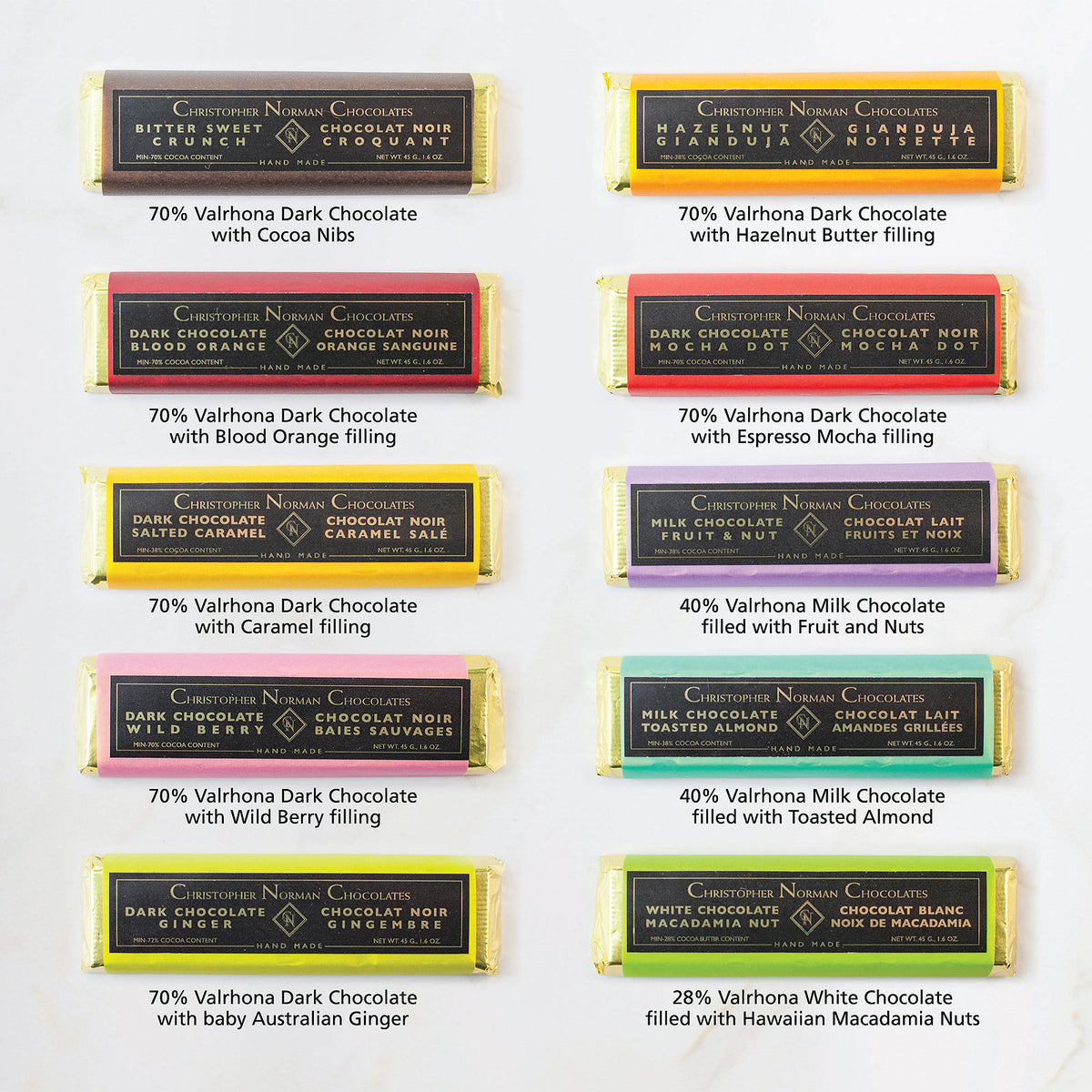 hand-crafted chocolate bars selection christopher norman