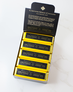 box of christopher Norman chocolates bars in environmentally responsible packaging