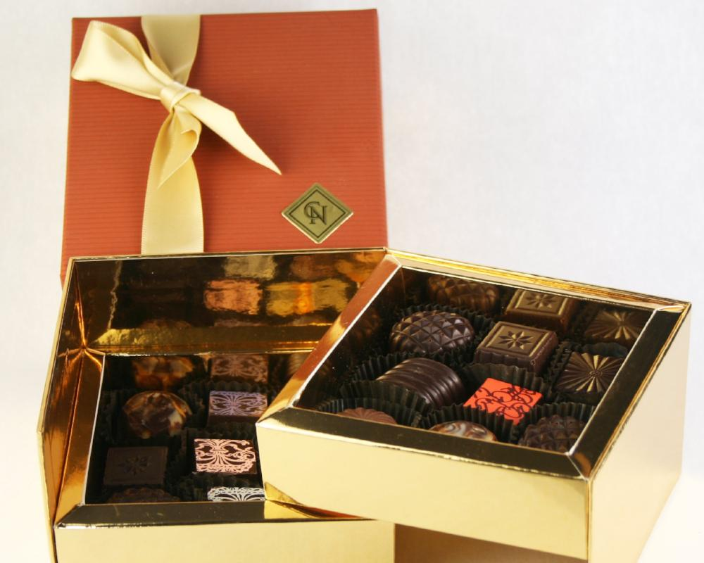 luxury box of 16 chocolate pieces by christopher norman chocolates
