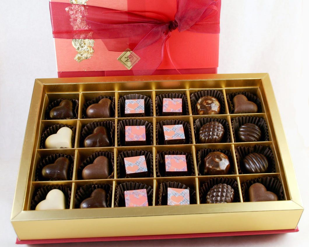 Exclusive Christopher Norman Chocolates Valentine Box of 24 fabulous chocolate truffles!