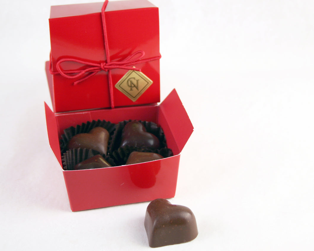 Valentine Box of 4 Chocolate heart truffles by John Down, master chocolatier of Christopher Norman Chocolates