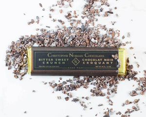 Bittersweet crunch chocolate bar by Christopher Norman Chocolate