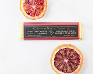 Blood orange dark chocolate bar by Christopher Norman Chocolates