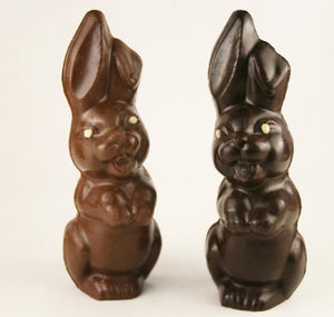 Large laughing dark and milk chocolate bunnies