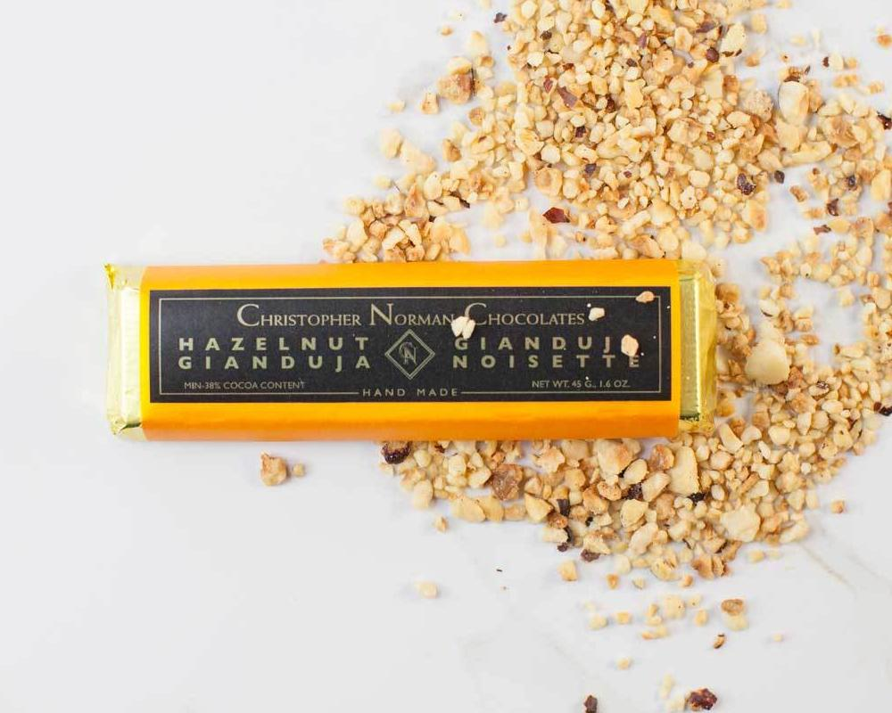 Hazelnut Gianduja dark chocolate bar
