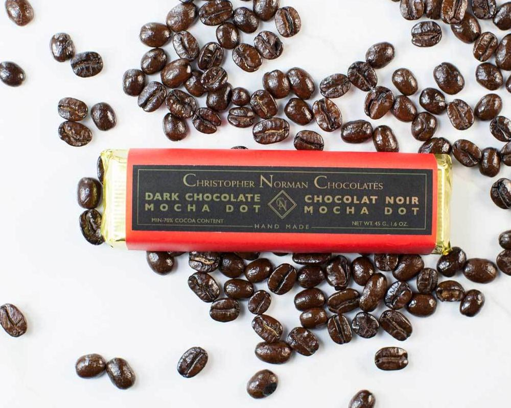 Mocha dot dark chocolate bar by Christopher Norman Chocolates