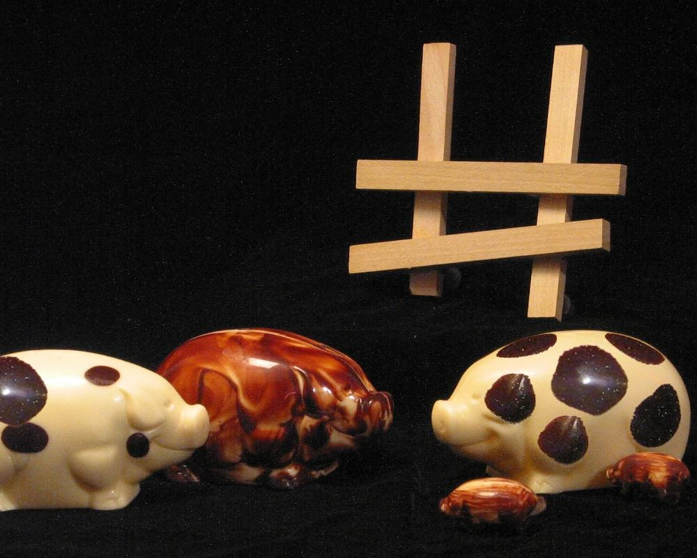 Oxford chocolate Pig with cacao Piglets inside by Christopher Norman Chocolates