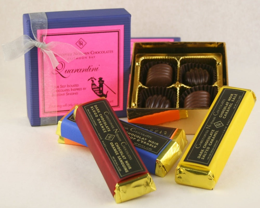 Quarantini Collection: Self Isolated Chocolates inspired by balcony singing. An idea by John Down, head Chocolatier of Christopher Norman Chocolates