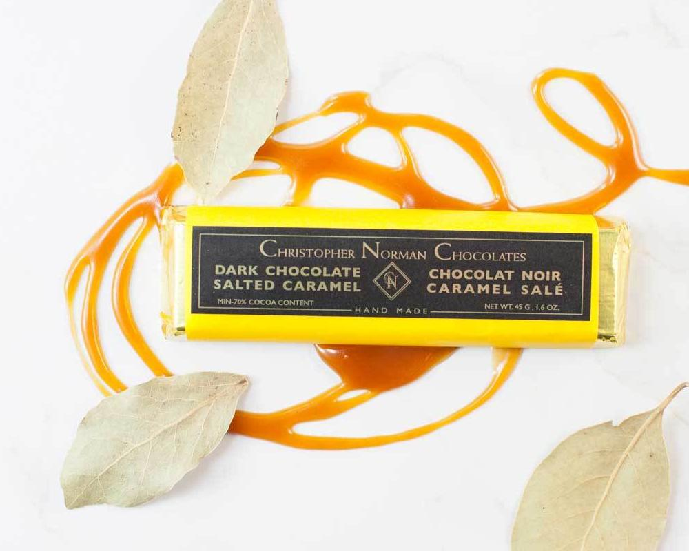 Salted Caramel Dark Chocolate Bar by Christopher Norman Chocolates