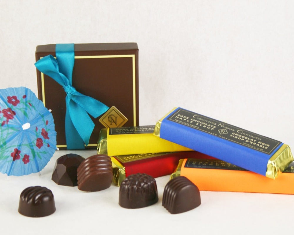 Quarantini Collection: Summer Box of Chocolates and assortment of Chocolate Bars by Christopher Norman Chocolates. Master Chocolatier: John Down