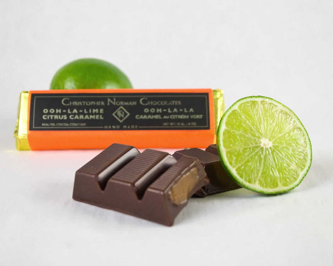 Oh La La Lime Dark Chocolate Citrus Bar by Christopher Norman