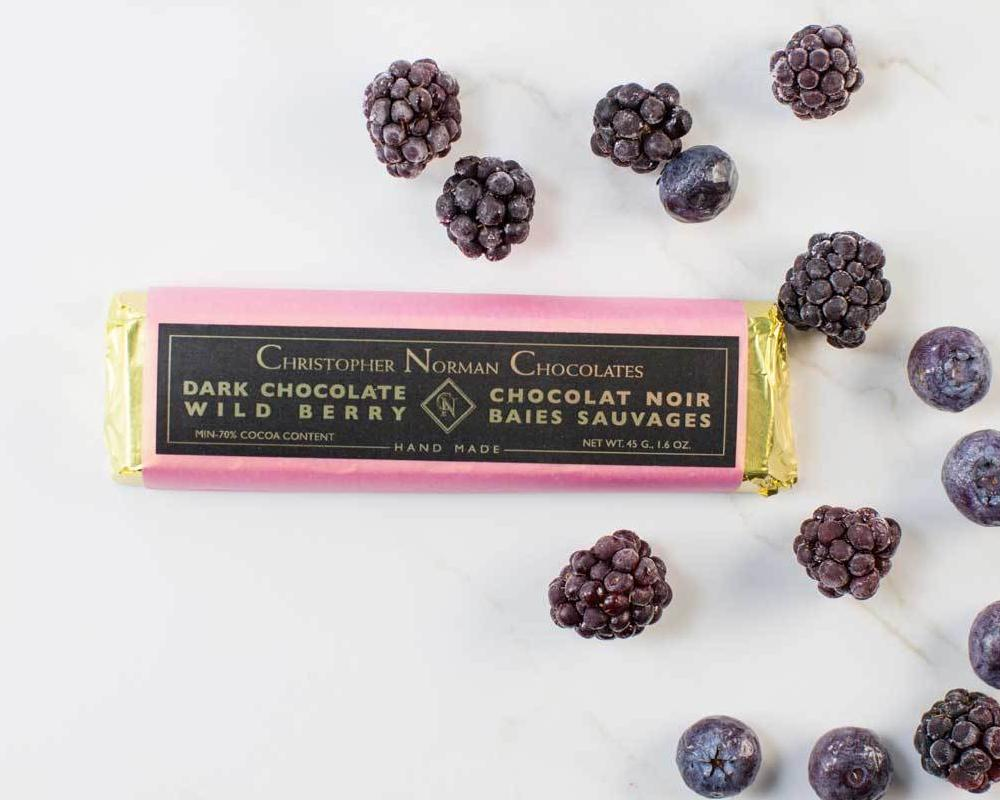 Chocolate Berries Vegan bar by Christopher Norman Chocolate