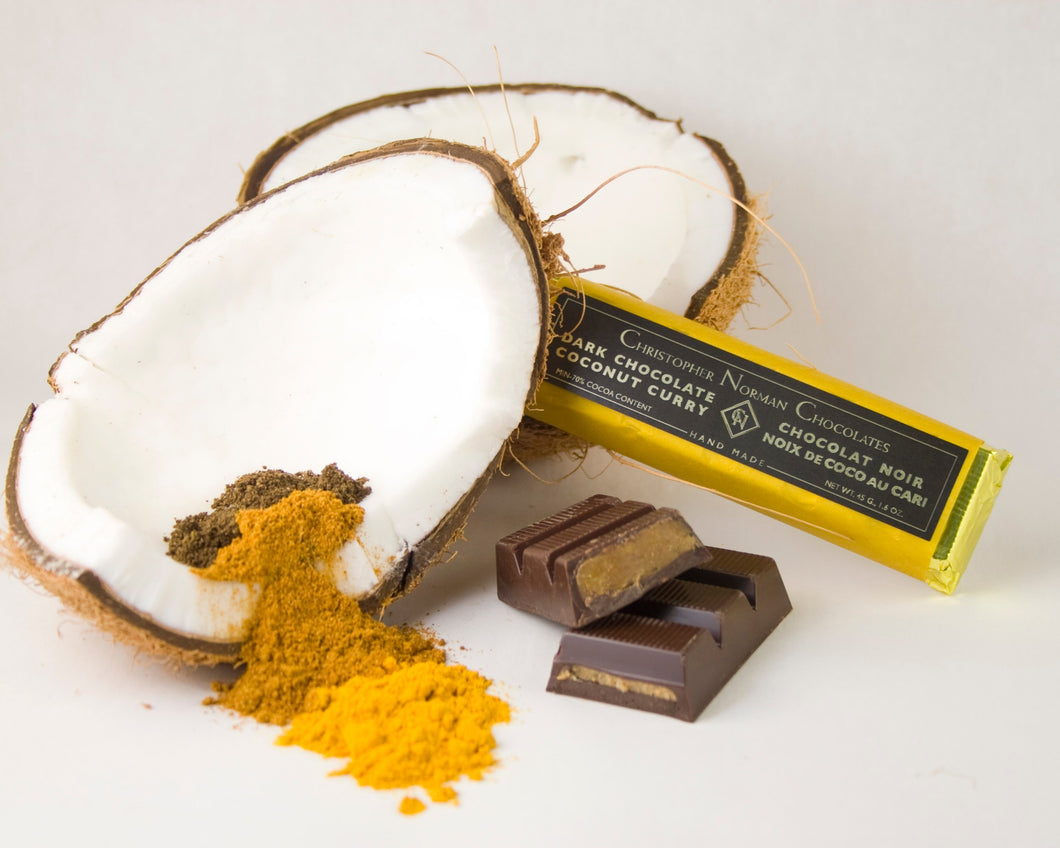 Toasted coconut curry dark chocolate bar, by Christopher Norman Chocolates