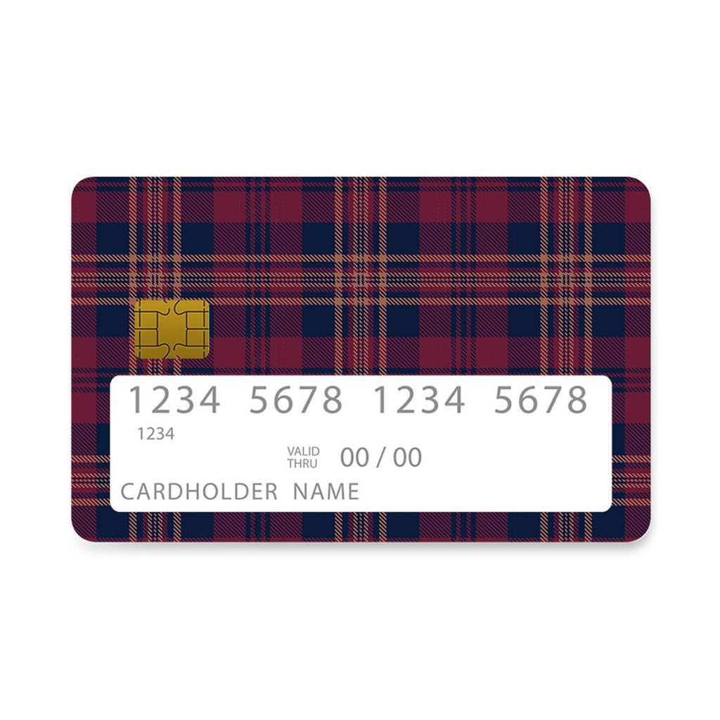 45 - Bank Card  Burgundy Checked case, cover, bumper