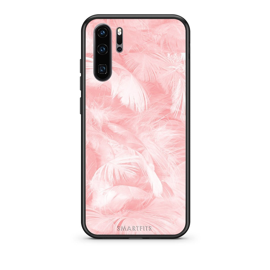 33 - Huawei P30 Pro  Pink Feather Boho case, cover, bumper