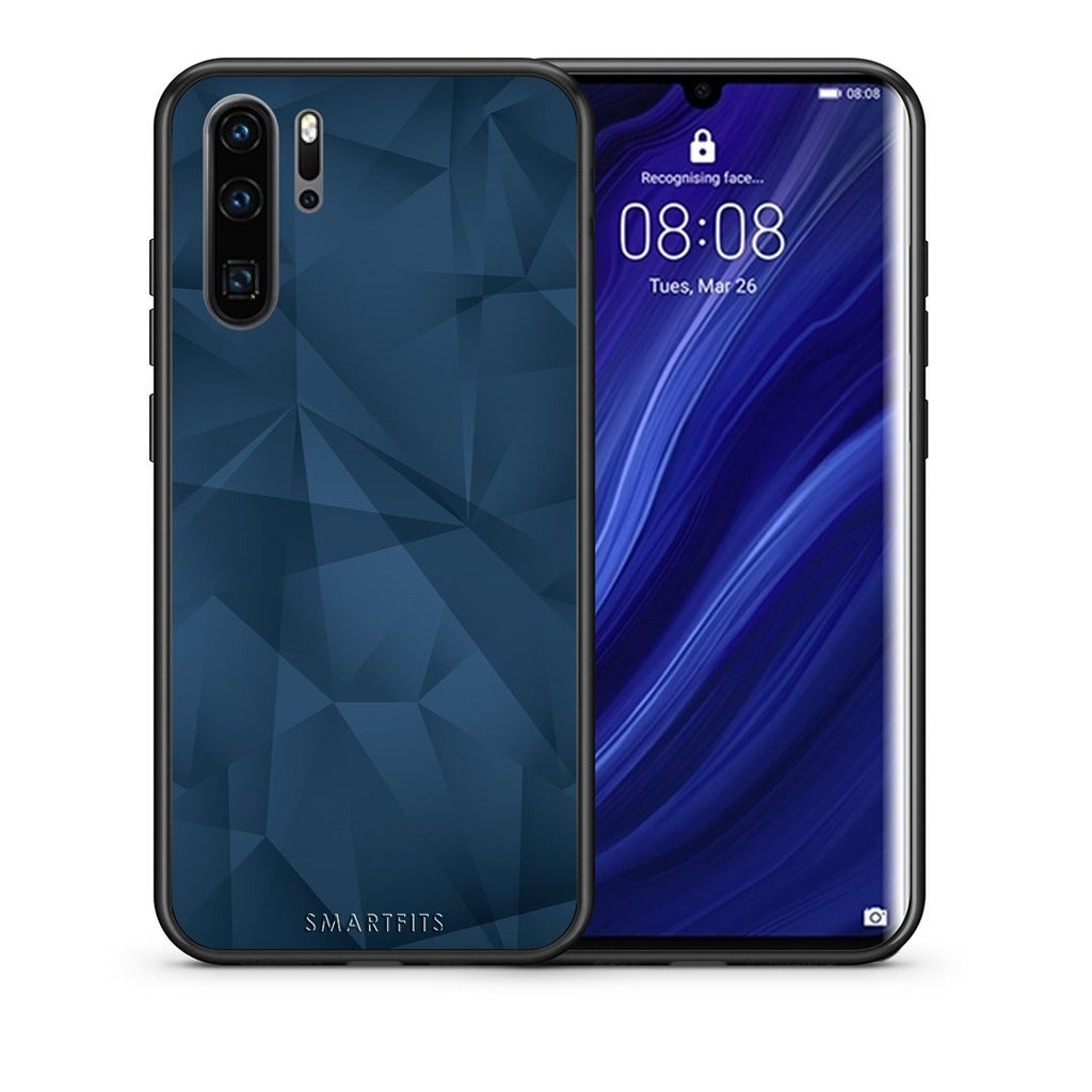 39 - Huawei P30 Pro  Blue Abstract Geometric case, cover, bumper