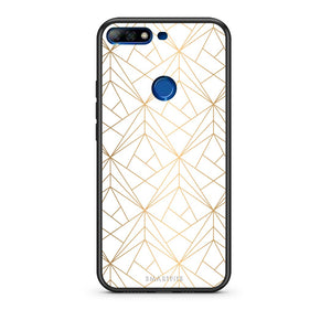 111 - Huawei Y7 2018 Luxury White Geometric case, cover, bumper
