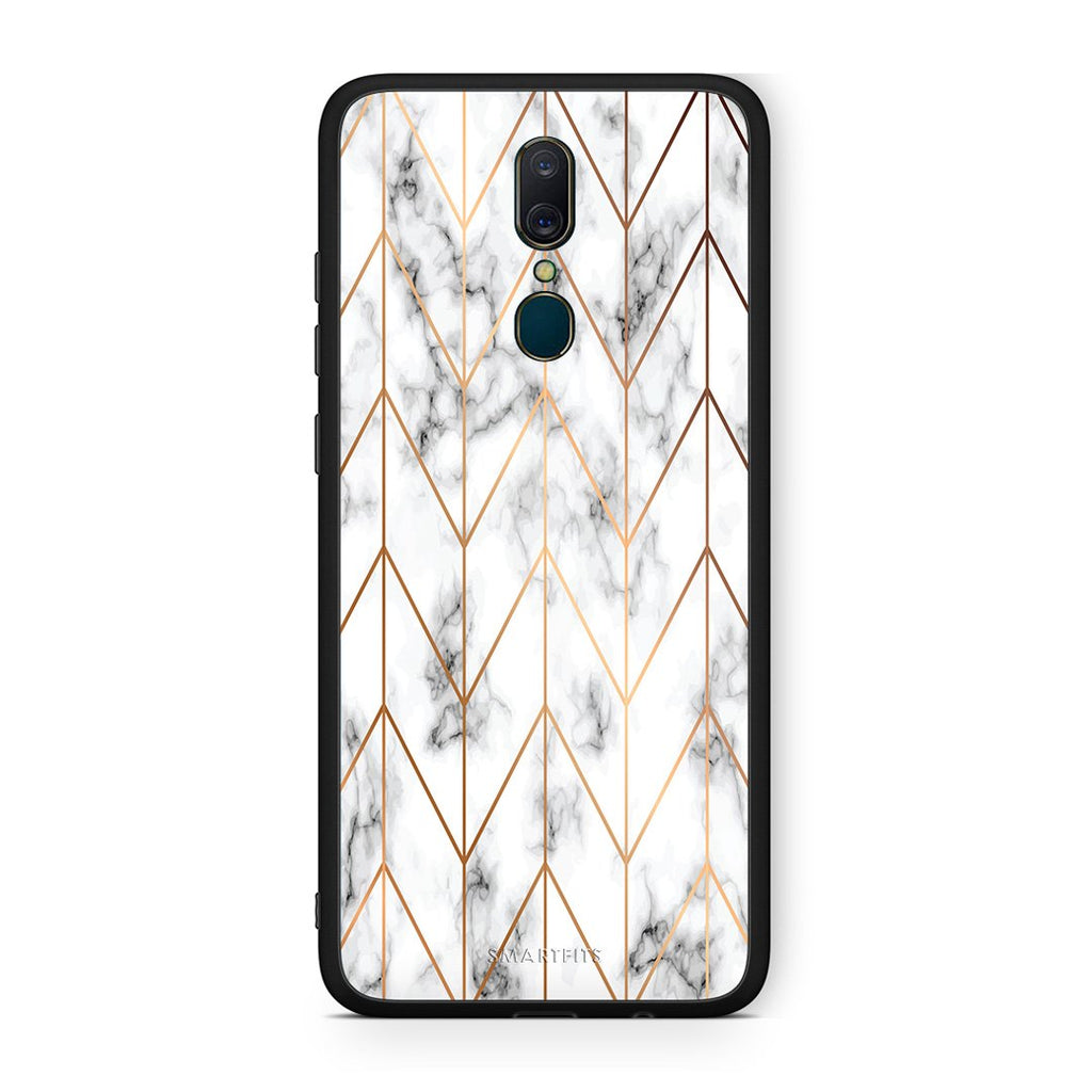 44 - Oppo A9  Gold Geometric Marble case, cover, bumper