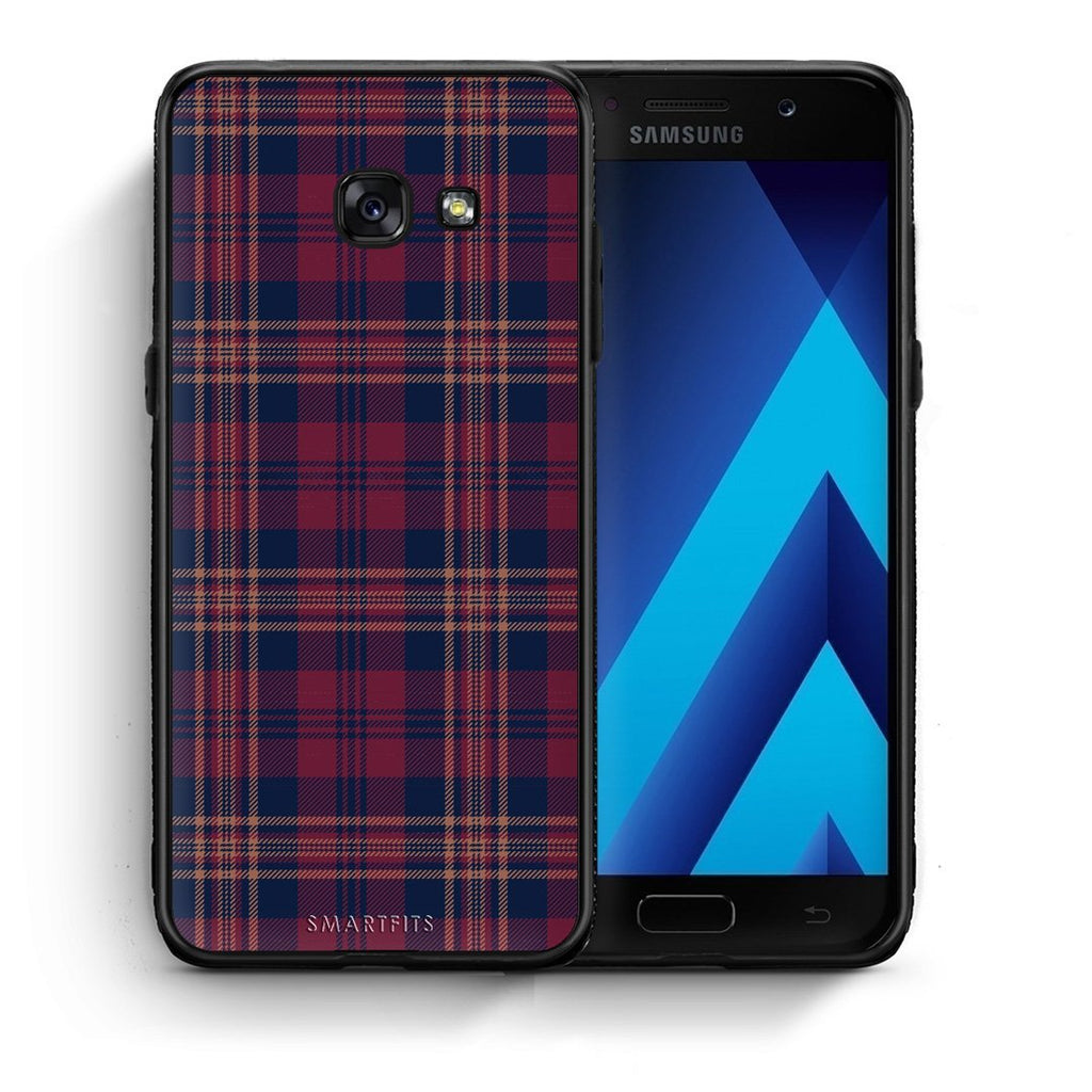 45 - Samsung A3 2017 Burgundy Checked case, cover, bumper