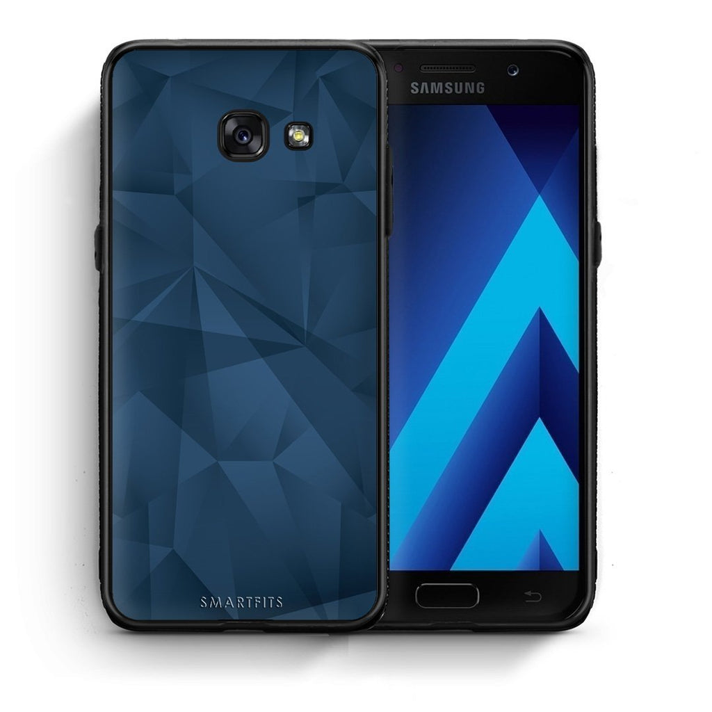 39 - Samsung A3 2017 Blue Abstract Geometric case, cover, bumper
