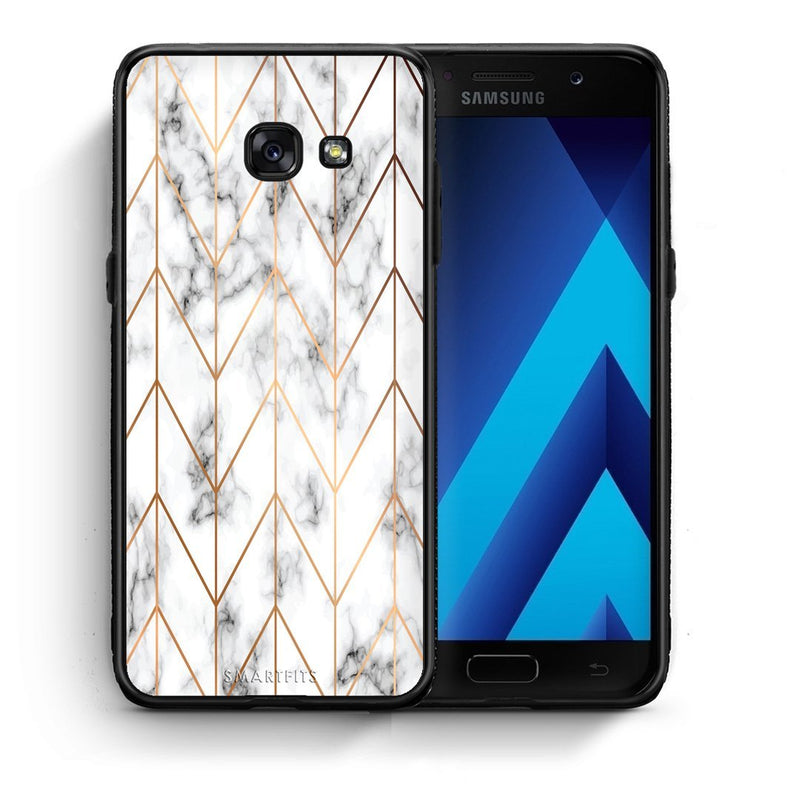 44 - Samsung A3 2017 Gold Geometric Marble case, cover, bumper