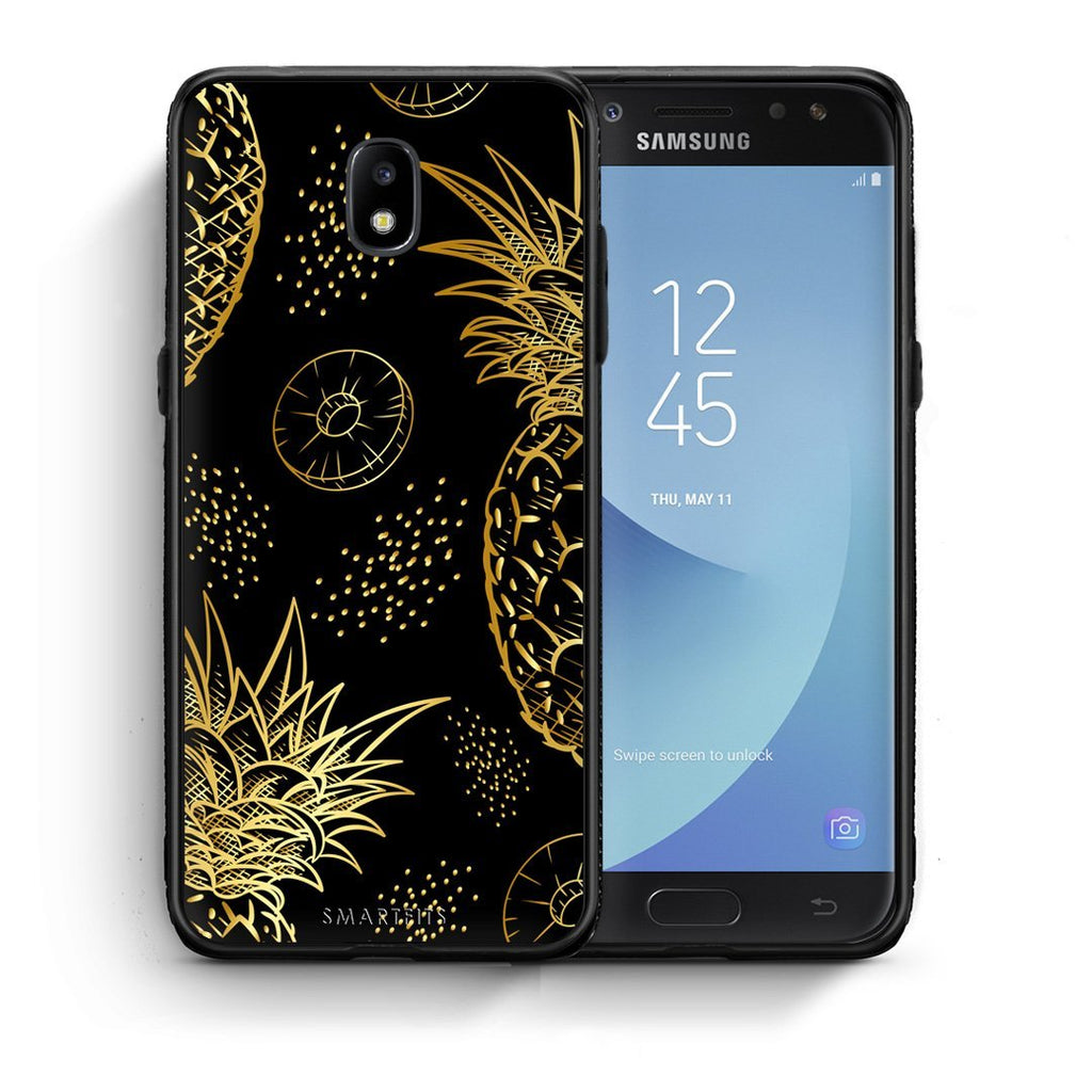 99 - Samsung J5 2017 Tropic Gold Pineapple case, cover, bumper