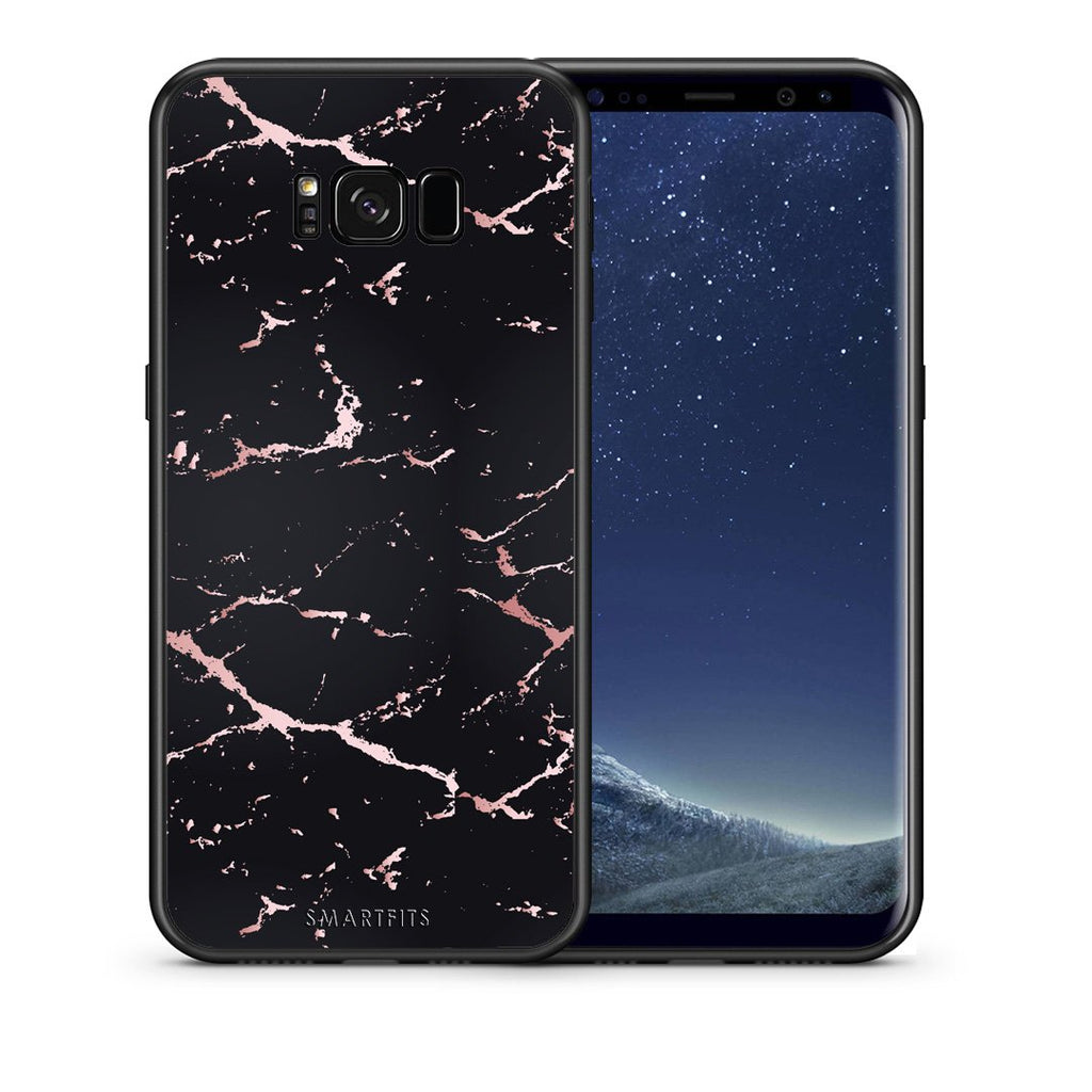 4 - samsung galaxy s8 plus Black Rosegold Marble case, cover, bumper