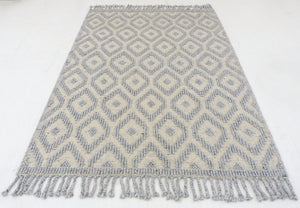 "5'3"" x 7'6"" Hand-Woven Braided Flatweave Kilim Area Rug , Ivory and beige New rug ,Handmade Kilim rug Home decor with free shipping SP393"