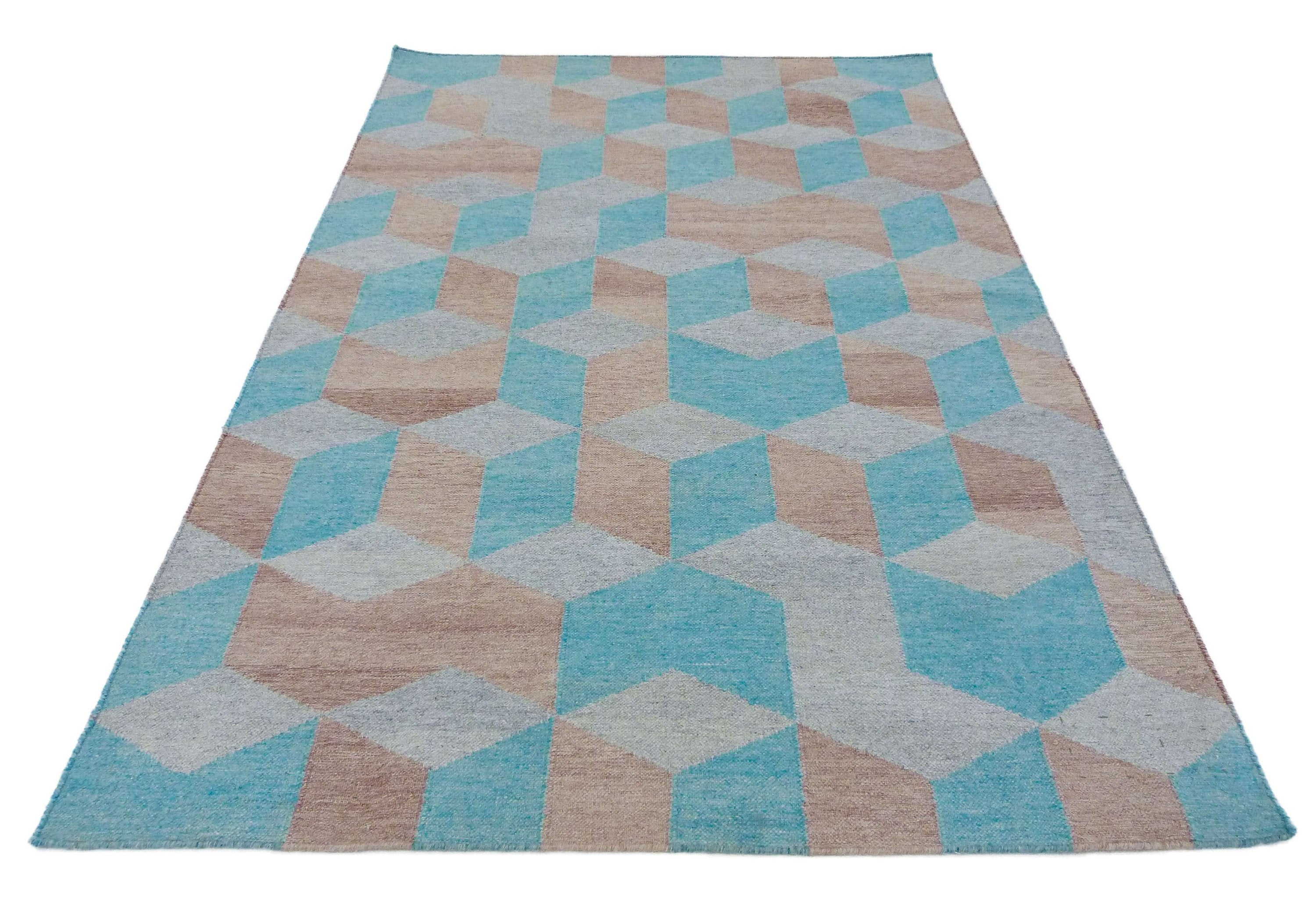 "5'3"" x 7'6"" 3D Handmade Kilim rug Home decor with free shipping ,Kilim Area Rug Hand-Woven yarn Flatweave Bohemian rugs , kilim carpet SP208"