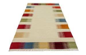 "5'3"" x 7'6"" colorful Hand knotted Kilim Area Rug, Oriental beige kilim Rug, modern Design Living Room Decor Rug,Kitchen Décor Area Rug SP167"